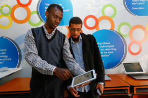 Show n' Tell App developers Francis Omondi & Ali Shariff showcase their Halal App during the 2nd edition of the Samsung Show n' Tell apps showcase at iLab Africa