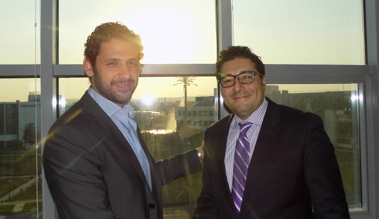 Mohamed Fahmy of IST (L) with Mohamed Afifi of Genesys (R)