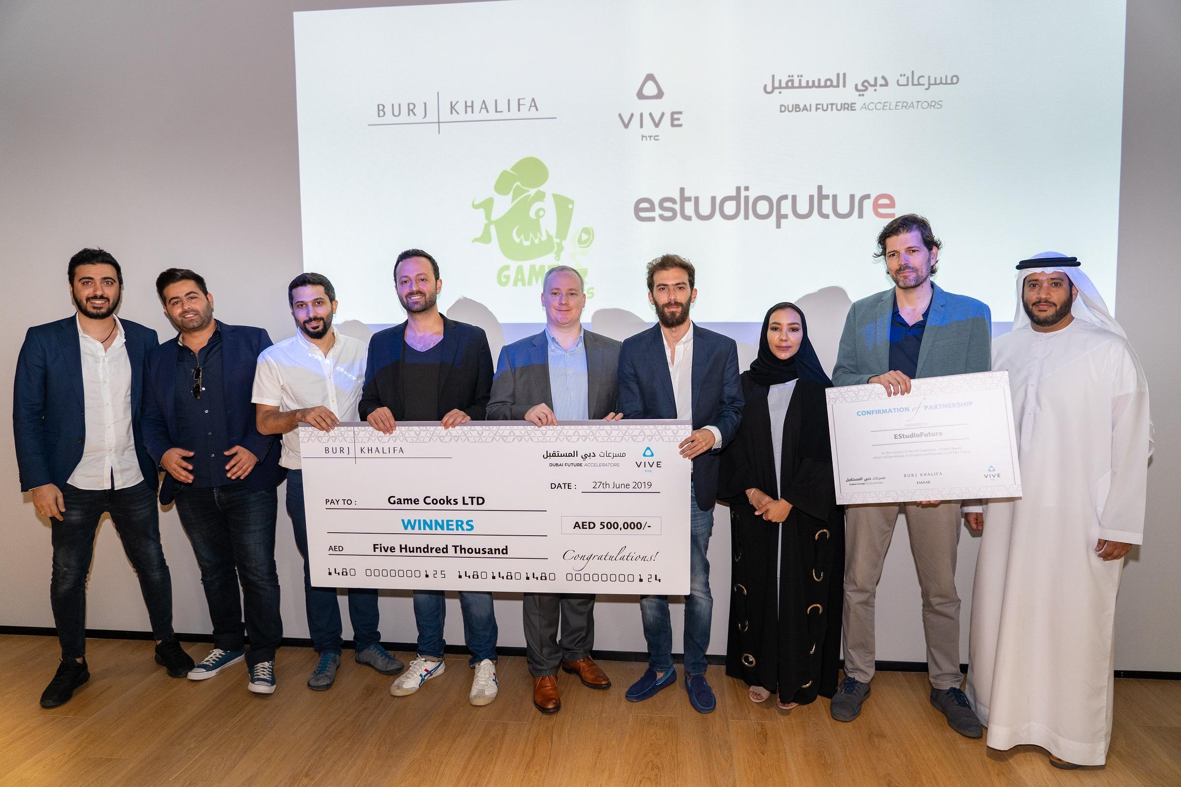 Winners of VR & Beyond Competition with Representatives from Burj Khalifa, HTC Vive & Dubai Future Accelerators
